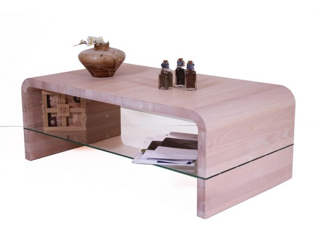 Стол журнальный Ксенон белого цвета, материал - цельный бук (общий вид с декором).