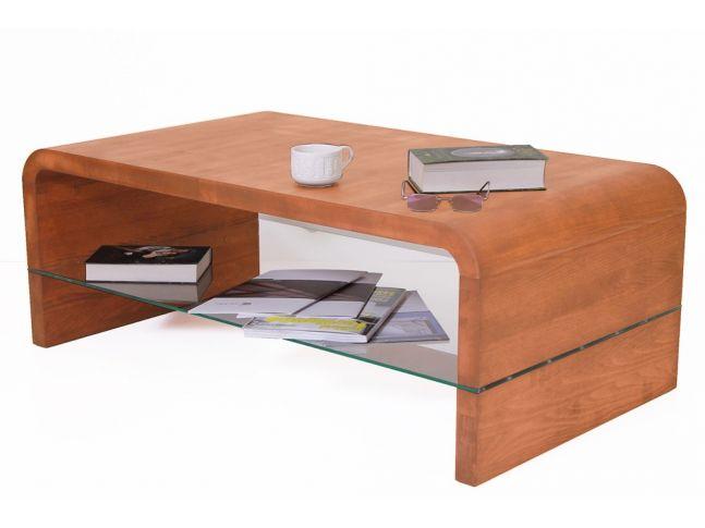 Стол журнальный Ксенон светло-коричневого цвета, материал - цельный бук (общий вид с декором).