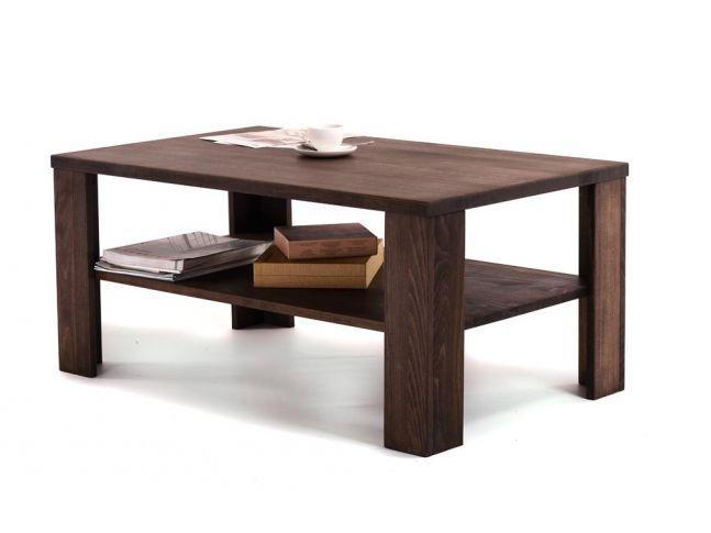 Стол журнальный Беатрис темно-коричневого цвета, материал - цельный бук (общий вид с декором).