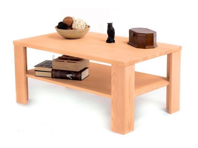 Стол журнальный Беатрис натурального цвета, материал - цельный бук (общий вид с декором).