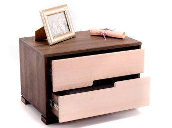 Тумбочка Селена темно-коричневого та білого кольору, матеріал - цільний бук (у відкритому вигляді).