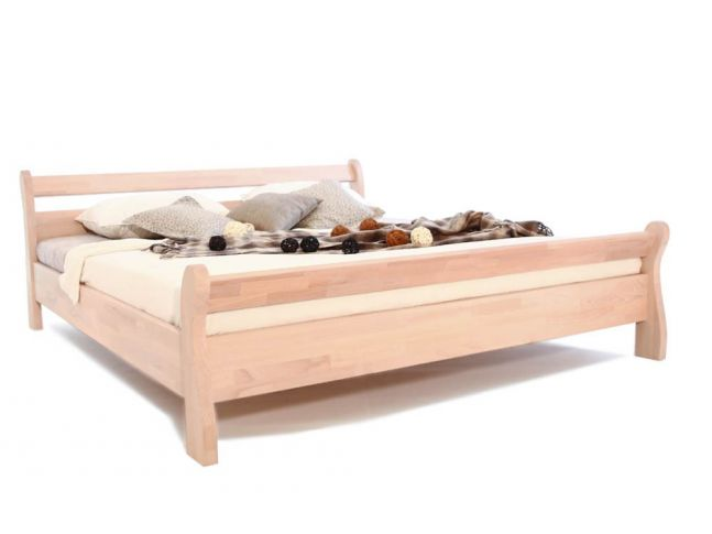 Ліжко Міледа білого кольору, матеріал - бук зрощений (загальний вигляд).