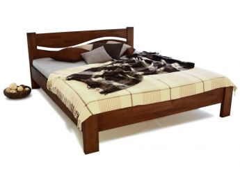 Ліжко Венеція коричневого кольору, матеріал - зрощений бук (загальний вигляд)