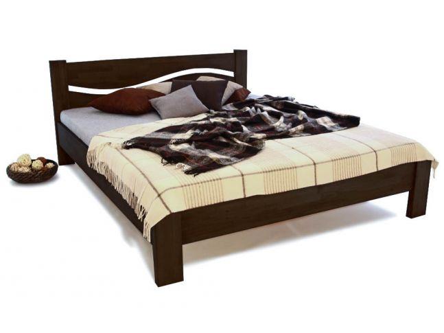 Кровать Венеция темно-коричневого цвета, материал - срощенный бук (общий вид).
