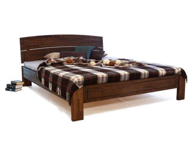 Ліжко Жасмін коричневого кольору, матеріал - зрощений бук (загальний вигляд).