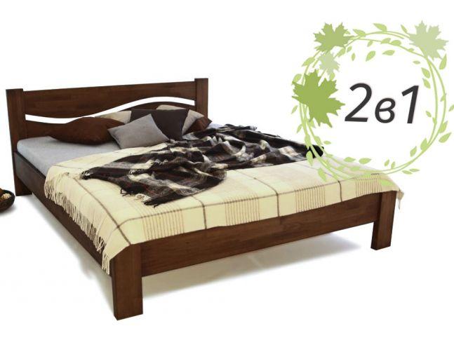 Двуспальне дерев'яне ліжко Венеція та ортопедичний матрац Care Cloud (2 в 1)