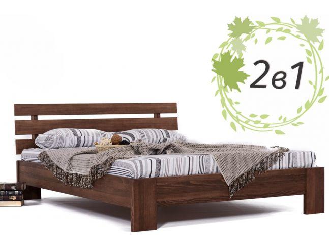 Двуспальная деревянная кровать Лучана и ортопедический матрас Soft Cloud (2 в 1)