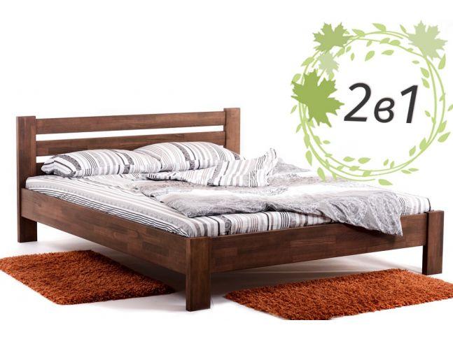 Двуспальная деревянная кровать Сильвана и ортопедический матрас Care Cloud (2 в 1).