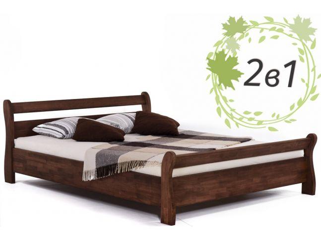 Двоспальне дерев'яне ліжко Міледа та ортопедичний маттрац Comfort Cloud (2 в 1).