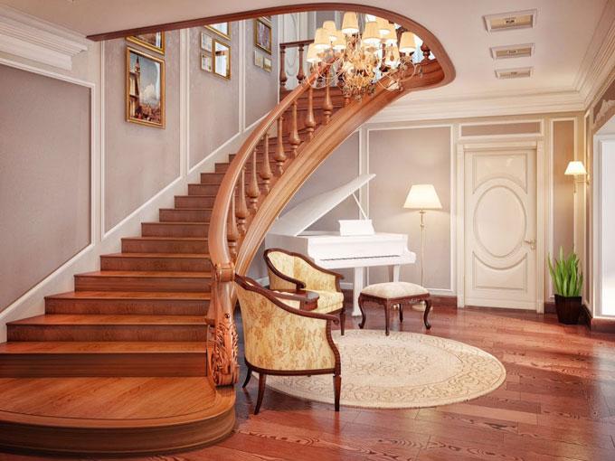 Красиві дерев'яні сходи в інтер'єрі