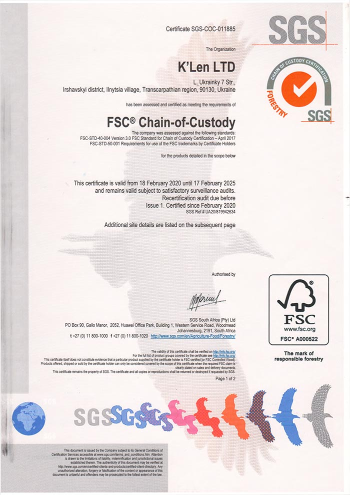 Сертификация цепи поставки FSC (Chain of Custody (COC)