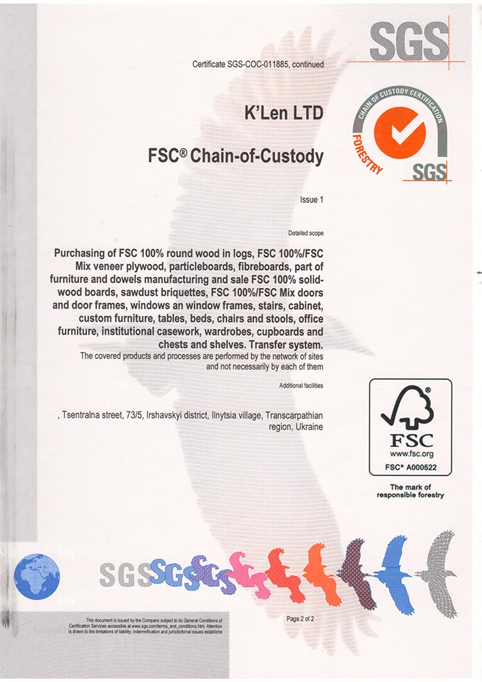 Сертификация цепи поставки FSC (Chain of Custody (COC) К'Лен