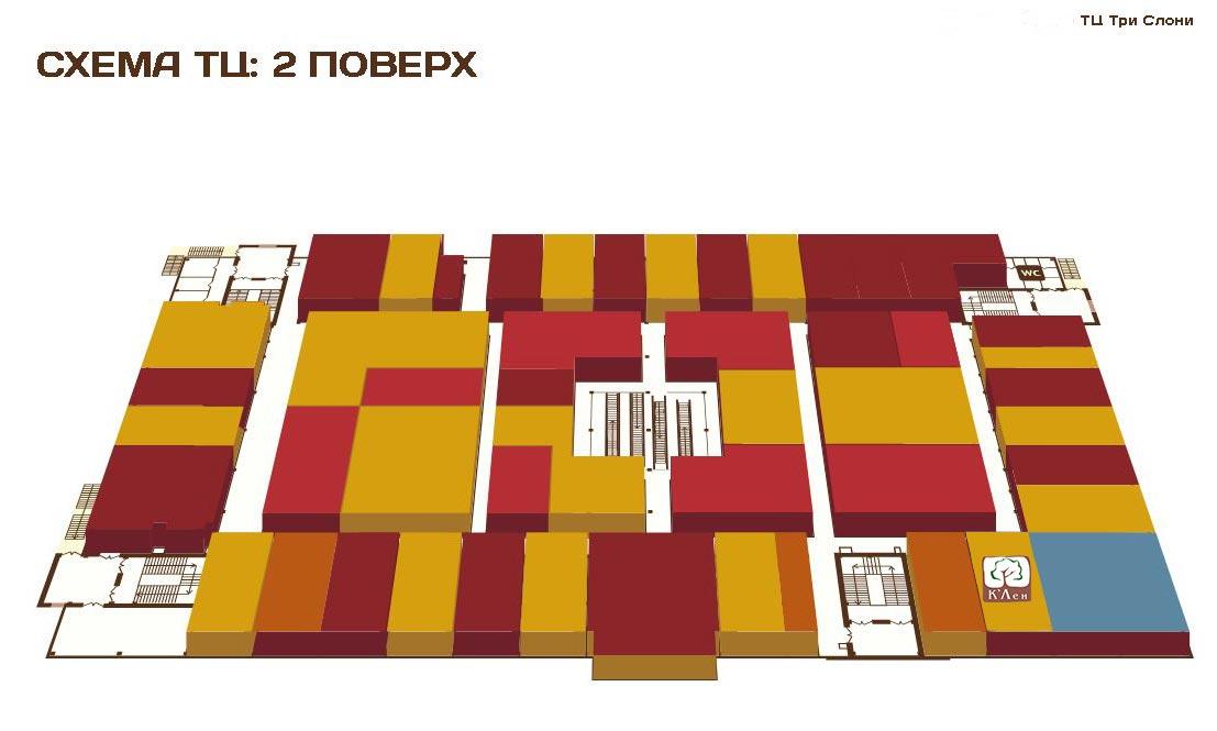 Схема розташування меблевого салону К'Лен 2 поверх