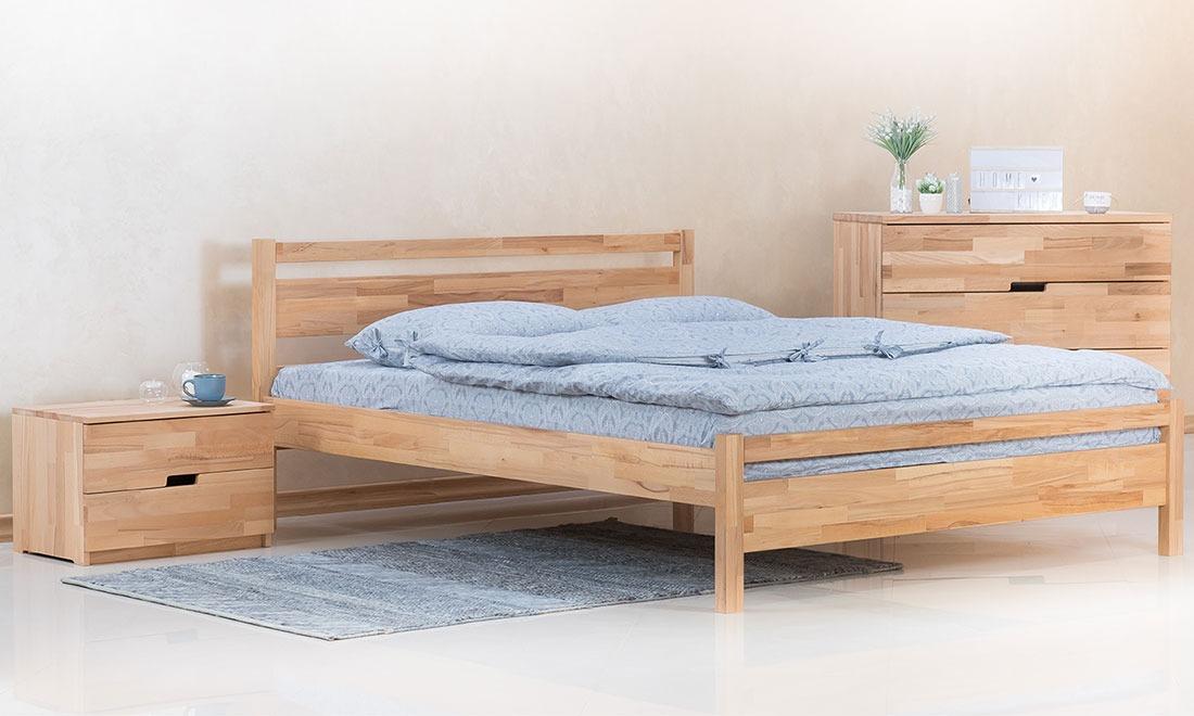 Деревянная двуспальная кровать. Купить двуспальную кровать из дерева по цене производителя, доставка по Украине - KLEN.UA